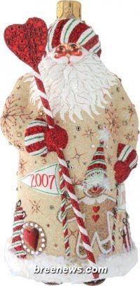 Century Santa, Anniversary, Patricia Breen (Gingerbread, Hearts, Red, Snowflakes, Striped, Christmas, Ornament)