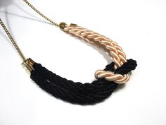 Square knot necklace in black and cream satin cords Knot Necklace, Tassel Necklace, Cords, Knots, Satin, Cream, Trending Outfits, Unique Jewelry, Handmade Gifts