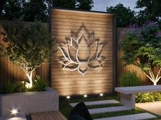 XL Lotus Flower - Crafted in the U. - Exclusively by Arte & Metal As part of our outdoor collection, this inspirin Modern Outdoor Wall Art, Modern Wall Art, Outdoor Walls, Garden Lighting Modern, Privacy Wall Outdoor, Outdoor Metal Wall Decor, Modern Decor, Yard Privacy, Landscape Lighting