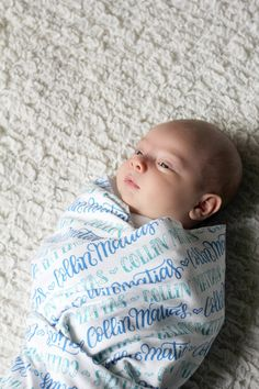 A customized swaddling cloth.