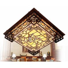 Vintage Stained Glass Shade Tiffany Ceiling Lights Flush