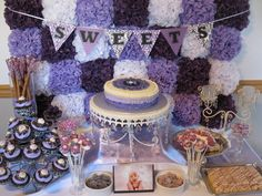 Purple Floral Dessert Table #purpleparty #desserttable