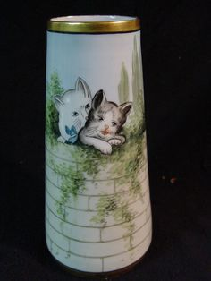 """+Rare+Antique+Art+Deco+CT+Altwasser+Silesia+HP+Cat+Kitten+Porcelain+Vase+10.5""""+"""