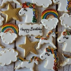 Unicorns and rainbows! #unicorns #rainbows #clouds #stars #sugarcookies #royalicing