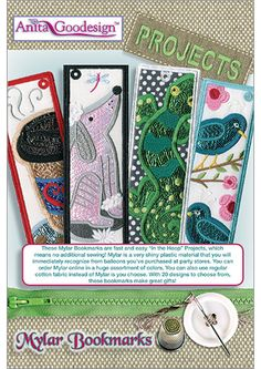 Mylar Bookmarks - Projects - Anita Goodesign - Available April Through your local Authorized Anita Goodesign Dealer Machine Embroidery Projects, Machine Embroidery Applique, Embroidery Ideas, Anita Goodesign, Party Stores, Bookmarks, April 1st, Plastic Material, Crafty