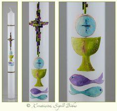 Kommunionkerze Mosaik Kelch Fische DW 200 von  Kerzenkunst -  Kreatiwita auf DaWanda.com