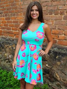 Bright Aqua Floral Dress - $49.99 : FashionCupcake, Designer Clothing, Accessories, and Gifts Designer Clothing, Clothing Accessories, Lily Pulitzer, Aqua, Bright, Summer Dresses, Floral, Gifts, Clothes