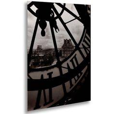 Trademark Fine Art Big Clock Canvas Art by Chris Bliss, Floating Brushed Aluminum 16x22, Black
