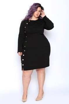 love this plus size outfit! fancy sweater dress with buttons. Plus Size Skirts, Plus Size Maxi Dresses, Plus Size Outfits, Nice Dresses, Ivory Dresses, Plus Size Fashion For Women, Plus Size Womens Clothing, Size Clothing, Trendy Clothing