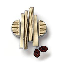 Christel van der Laan, Brooch, 2011 painted silver, ceramic honeycomb blocks, microgeodes