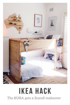 On the blog, my IKEA KURA hack with ply for an easy scandi look. Kids Rooms, boys bedroom, bunk beds. #Bedding