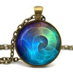 2015 Rushed Colar Yoga Tattoo Pendant Ancient Bronze Cabochon Nebula Turquoise Space Astronomy Geek Jewelry Art Necklace Ya38