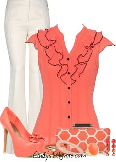 """Coral with a Clutch"" by cindycook10 on Polyvore"