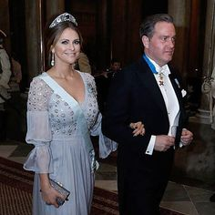 Princess Madeleine in the Aquamarine Kokoshnik Tiara with a dress by Temperley London (Canada's Governor General state visit, Feb 2017) via The Royal Order of Sartorial Splendor