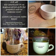 """Our Biggest Sale Yet...20% OFF our oversized 24 oz mugs (dishwasher & microwave safe) by entering the coupon code: BOOST  The perfect mug for soup, hot cocoa, tea, coffee, chili, ice cream, and/or to use as a gift basket for someone:  * who's sick and could use some comfort, xoxo & healing * away at college and/or from home * who needs cheering up and/or """"an extra boost""""   More details in this link: http://www.anextraboostof.com/product/soup-mugs/"""