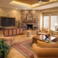 Family Room Corner Gas Fireplace
