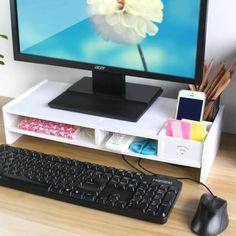 White Desktop Monitor Stand x2 More