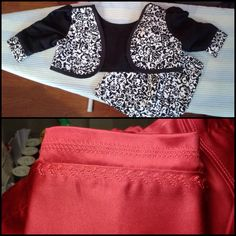 Bolero jacket with matching skirt. Red medium denim pants.