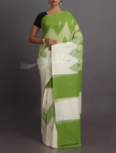 Sheena Zig Zag And Color Pure #IkatCottonSaree
