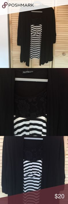 black and white blouse black and white blouse size 2 xl. lightly use like new Tops Blouses