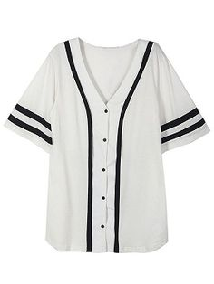 Shop White Button Front Number Print Back Boyfriend Baseball T-Shirt from choies.com .Free shipping Worldwide.$22.9