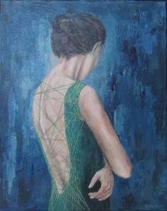 "Saatchi Art Artist Nadia Rapti; Painting, ""The green dress"" #art"