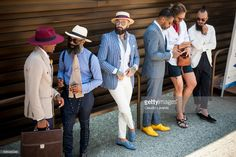 Gentlemen in suit outfit are seen during Pitti Immagine Uomo 92. at Fortezza Da Basso on June 15, 2017 in Florence, Italy.