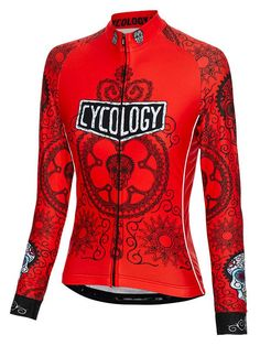 Day of the Living (Red) Women s Long Sleeve Cycling Jersey. Cycology  Clothing 1c23eebba