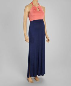 Take a look at this Coral & Navy Maternity Halter Maxi Dress on zulily today!