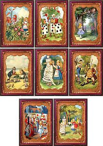 Details about  Vintage Alice in Wonderland tintype frame 8 cards tags ATC altered art set B
