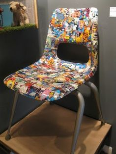 Comic book plastic chair makeover only use rodeo pics instead! Furniture Plans, Kids Furniture, Painted Furniture, Decoupage Furniture, Repurposed Furniture, System Furniture, Decoupage Ideas, Refinished Furniture, Furniture Chairs