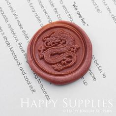 Buy 1 Get 1 Free 1pcs 30mm Round Dragon Gold Plated Wax Seal