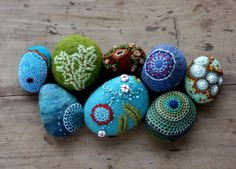 stitched stones by Lisa Jordan of lil fish studios