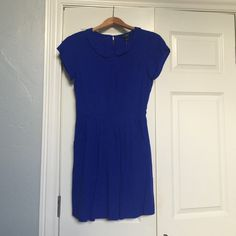 J Crew Factory Cobalt Blue Peter Pan Dress Sz 2 Cobalt blue with Peter Pan collar, side pockets, elastic waist, and keyhole button at top back.  New with tags.  Hits above knee. J. Crew Factory Dresses Mini