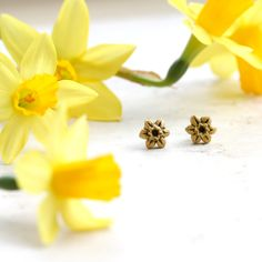 Daffodil Earrings, Yellow Flower Studs, Spring Post Earrings, Daffodil Jewelry, Daffodils, Springtime Jewellery, Easter Gift, Garden lover by GwydionsGarden on Etsy