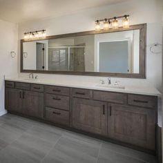 Restroom Remodel, Diy Bathroom Remodel, Bathroom Renovations, Bathroom Makeovers, Bathroom Mirror Makeover, Bathroom Mirrors, Bathroom Hardware, Bathroom Cabinets, Brown Bathroom
