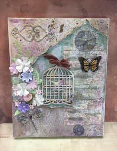 Your place to buy and sell all things handmade Mixed Media Boxes, Mixed Media Canvas, Mixed Media Art, Mix Media, Canvas Collage, Canvas Wall Art, Decoupage Art, Art Journal Techniques, Butterfly Flowers