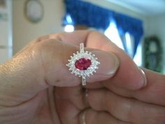 Stunning Red Ruby & White Topaz 925 Sterling Silver Ring Size 7 Classic,Gemstone #Notapplicable #Classic