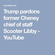 Trump pardons former Cheney chief of staff Scooter Libby - YouTube