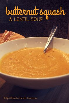 Creamy, sweet, earthy & mildly spiced, this smooth & filling squash & lentil soup is a delicious starter or even a meal in itself, served with crusty bread.