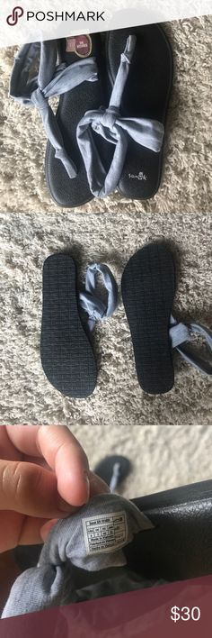 Sanuk Sling Ella WORN ONCE!!! I bought these for prom but never wore them there and ended up wearing them to class once. Perfect brand new condition! They are light grey Ella slings and everything is in tact. Size 9! Sanuk Shoes Sandals