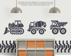 This fun decal is sure to be a hit in your childs bedroom, playroom or nursery! DECAL DETAILS --------------------------------------------------- * Matte Finish * Dump truck is 22H x 28.5L * Bulldozer is 22H x 33L * Cement Truck is 22H x 30L * Comes in 3 easy to install pieces.