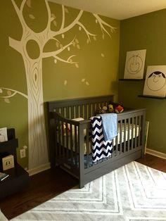 Woodland nursery with tree decal.