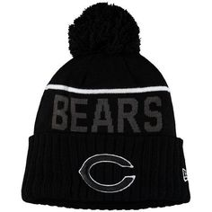 Men s Chicago Bears New Era Black Black   White Sport Cuffed Knit Hat bc36a85b19ee