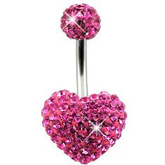 beautiful, pink, heart shaped belly rings... I WANT!