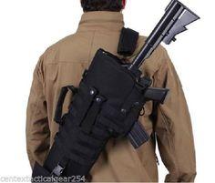 Black Tactical Rifle Scabbard Gun Case MOLLE Ambidextrous w/ Shoulder Sling