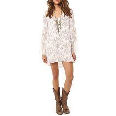 Junior O'Neil 'Panama' Shift Dress (€55) ❤ liked on Polyvore featuring dresses, naked white, white shift dress, white boho dress, bell sleeve dress, floral dress and boho chic dresses