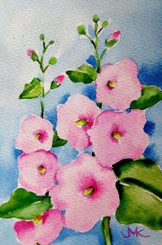 Pink Hollyhocks Flowers Gardens ORIGINAL Watercolor Painting by M ...