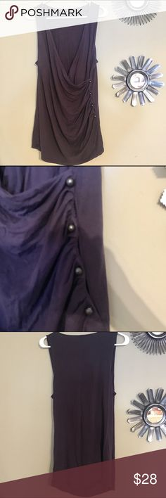 Ann Taylor long blouse Ann Taylor sleeveless long blouse in excellent condition. V neck gathering in front. 4 buttons on side for show. Color to me looks like eggplant. Size xl true to size Ann Taylor Tops Blouses