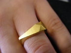 Triangle Faceted Ring Geometric Piramid Ring Gold by EVANORY